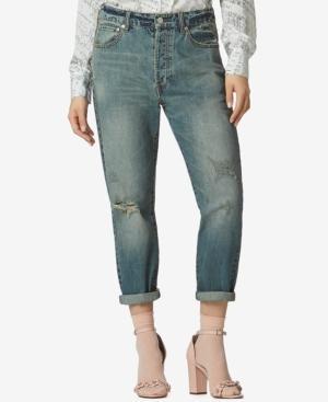 Avec Les Filles Cotton High-Waist Cropped Jeans In Dirty Vintage Denim
