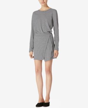 Avec Les Filles Cotton Jersey Wrap Dress In Black/Grey