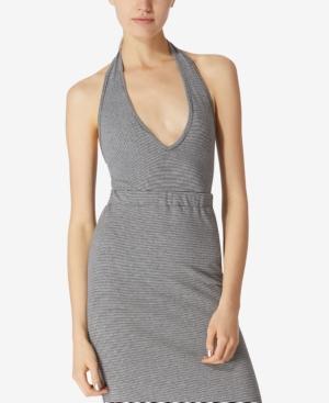 Avec Les Filles Cotton Halter Bodysuit In Black/Grey