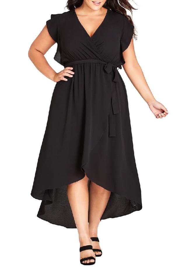 City Chic Lolita High/low Maxi Dress In Black