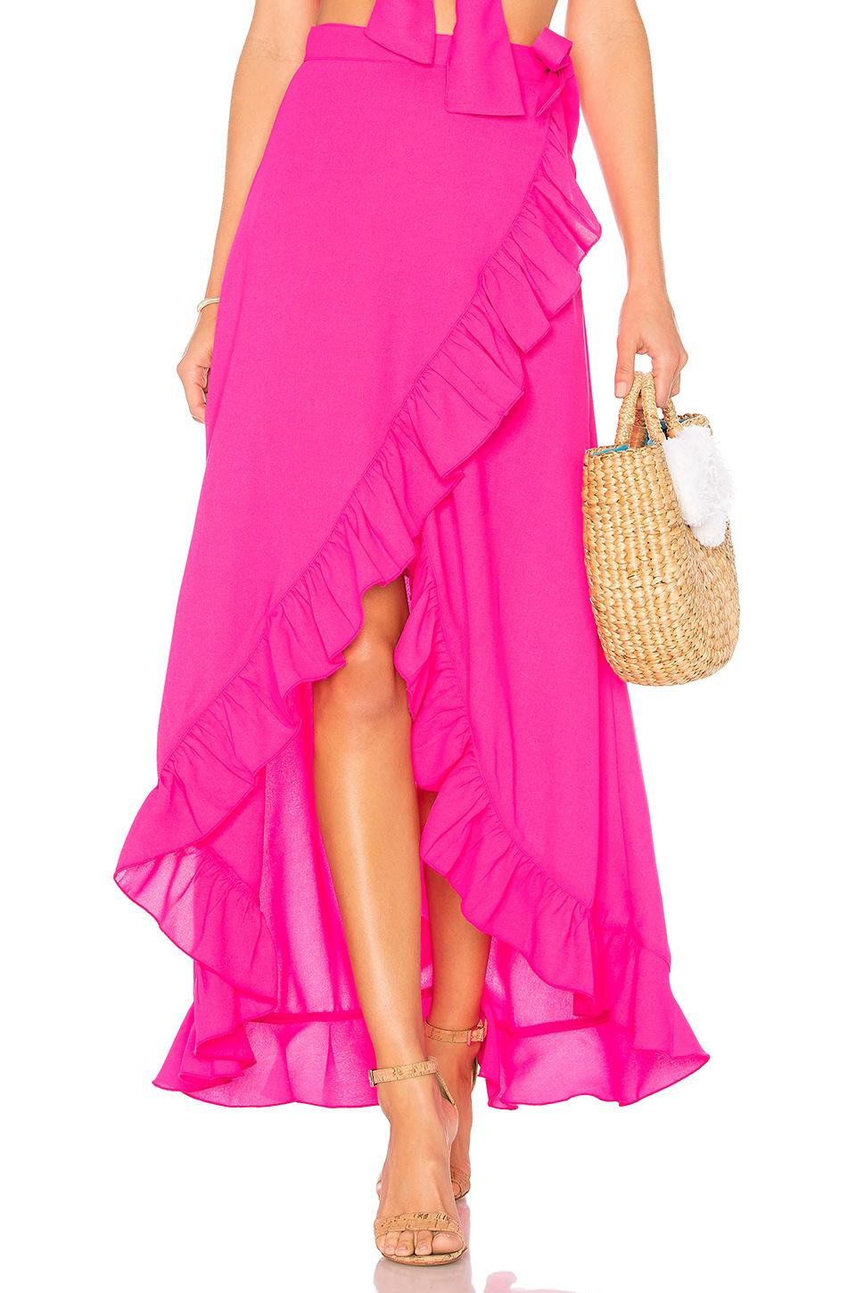 Lovers & Friends Waves For Days Wrap Skirt In Zinnia