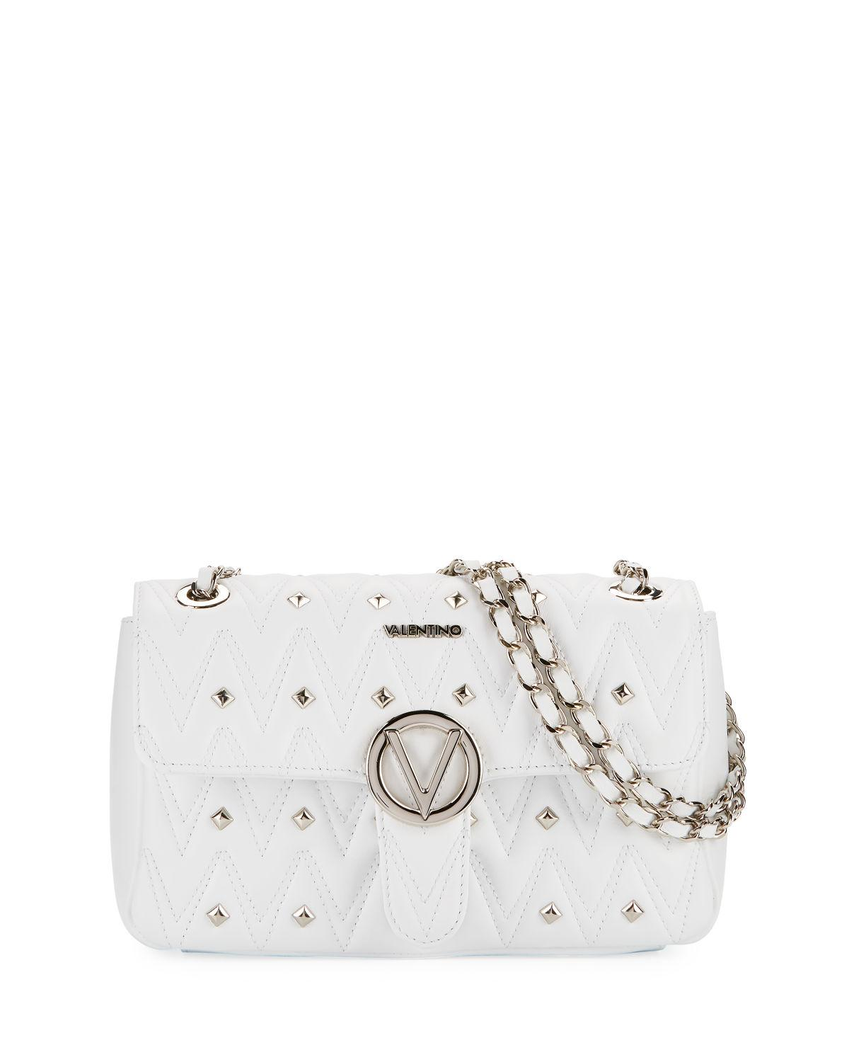 39a6c6ec3d63 Valentino By Mario Valentino Antoinette Sauvage Leather Stud Shoulder Bag  In White