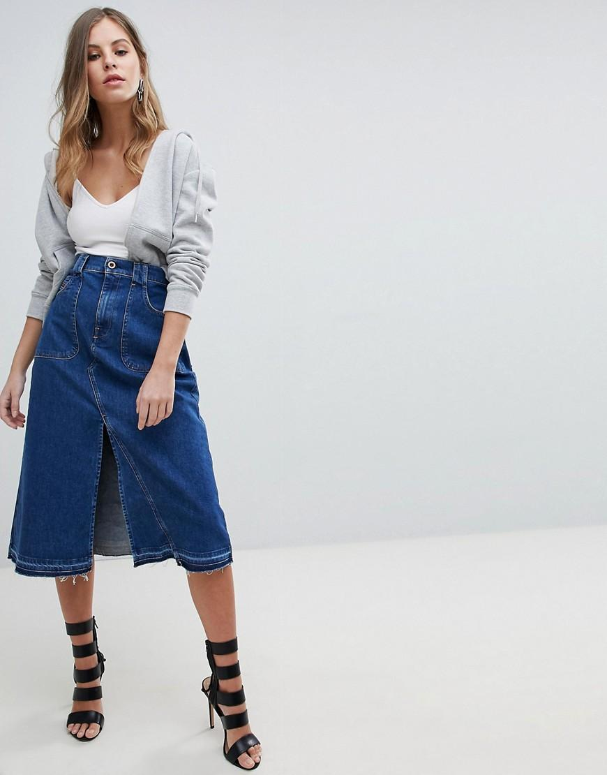 Diesel Midi Denim Skirt - Blue