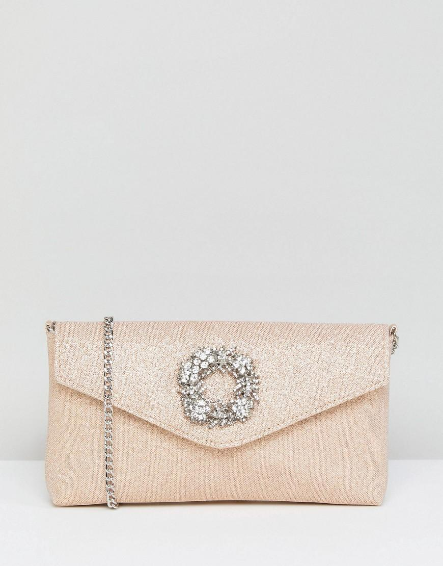 Dune Occasion Clutch With Embellishment Detail - Silver