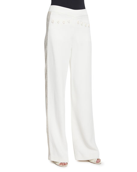 Derek Lam Wide-Leg Flat-Front Tuxedo Pants, Ivory