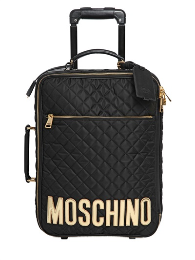 Moschino Leather-AppliquÉD Quilted Satin-Shell Travel Trolley In Black