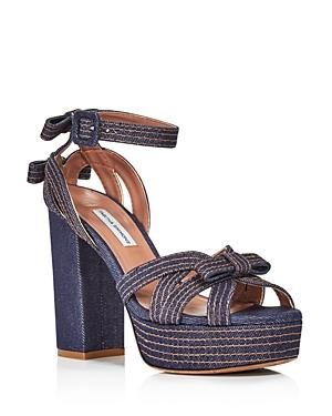 Tabitha Simmons Women's Goldy Denim Platform High-Heel Sandals In Indigo