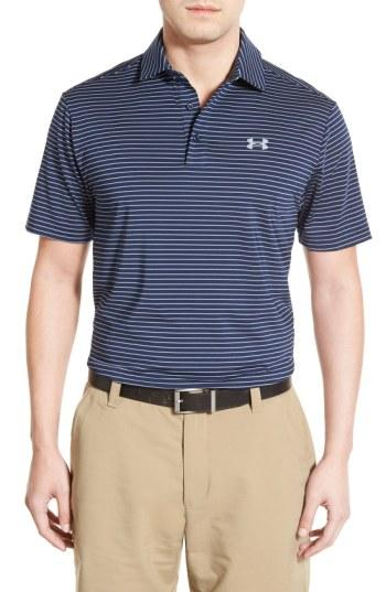 Under Armour Men's Playoff Performance Color Blocked Golf Polo In White/bass Blue