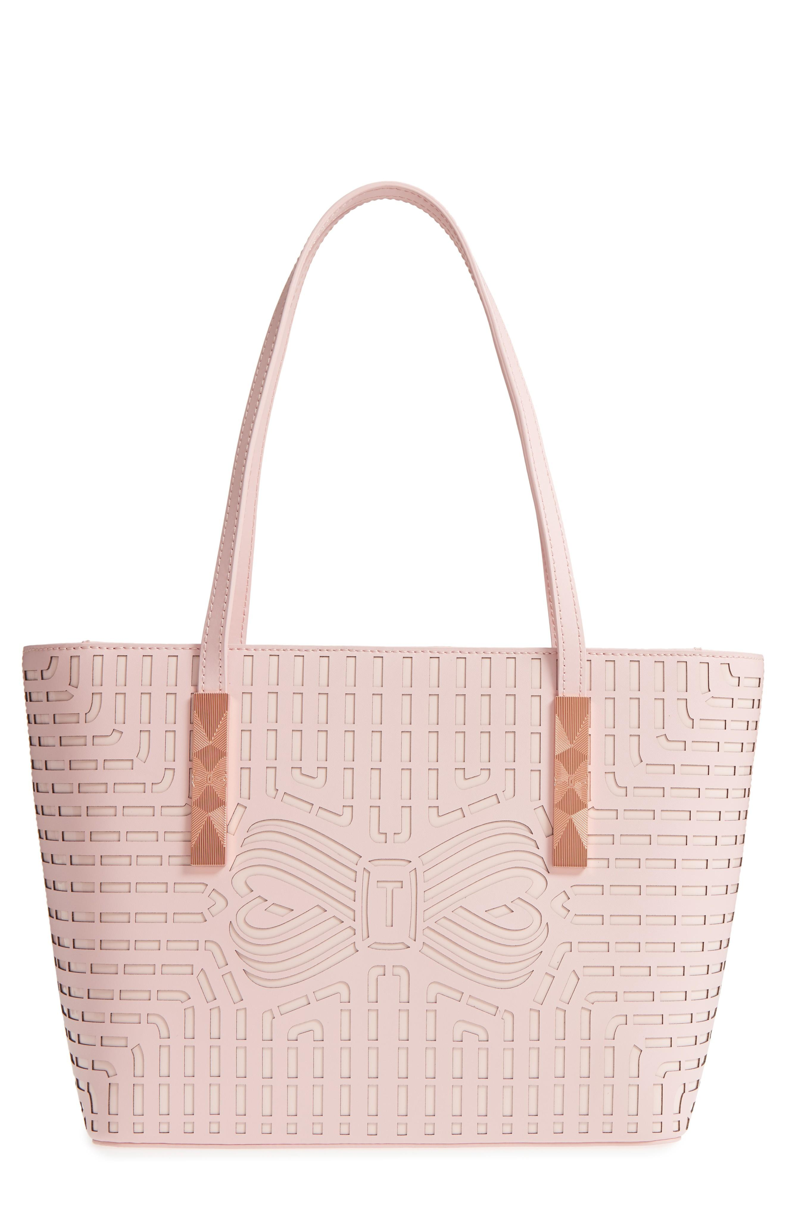 fca4bece91 Ted Baker Breanna Perforated Bow Leather Shopper - Pink In Light Pink