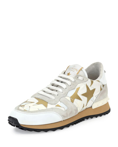 873590511050a Valentino Star-Embellished Leather Sneaker, White (Bianco) | ModeSens