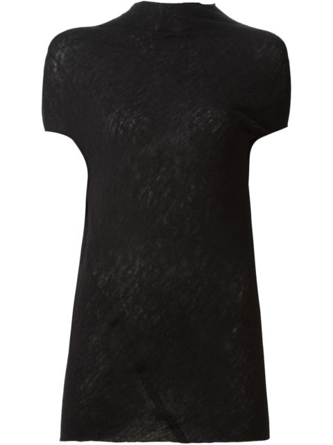 Rick Owens Asymmetric Knit Top - Black