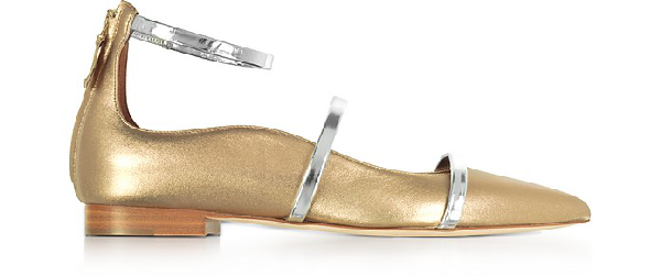 Malone Souliers Robyn Flat Metallic Nappa Leather Ballerinas In Gold