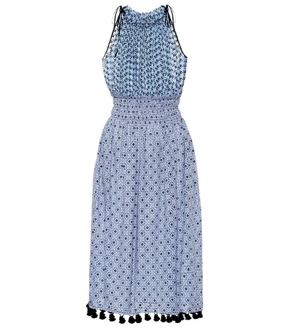 Altuzarra Sleeveless Printed Cotton Dress In Blue
