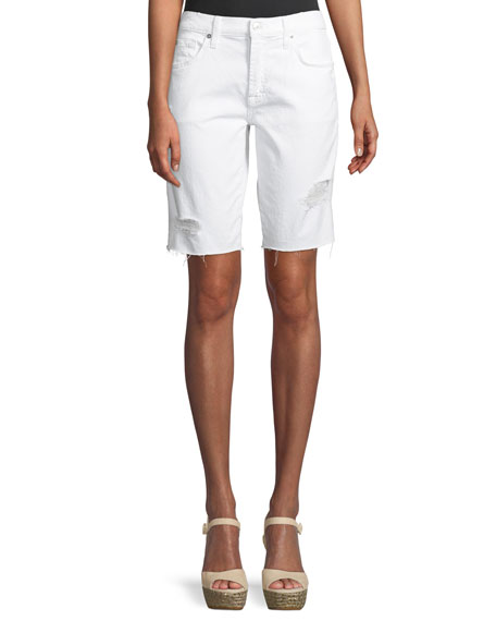 7 For All Mankind High-Waist Raw-Edge Distressed Denim Bermuda Shorts In White