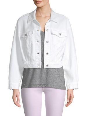 7 For All Mankind Bubble White Denim Jacket In White Fashion