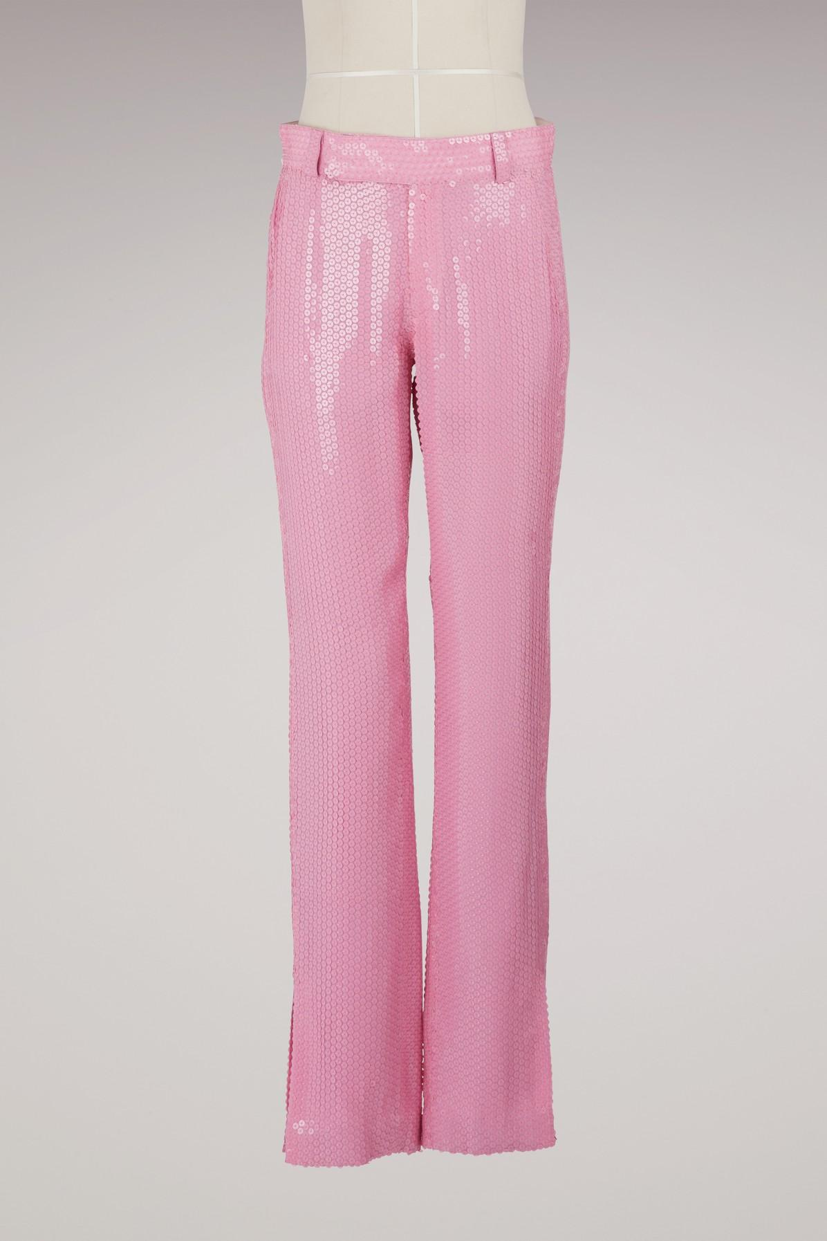 Msgm Straight-leg Sequined Pants In Pink