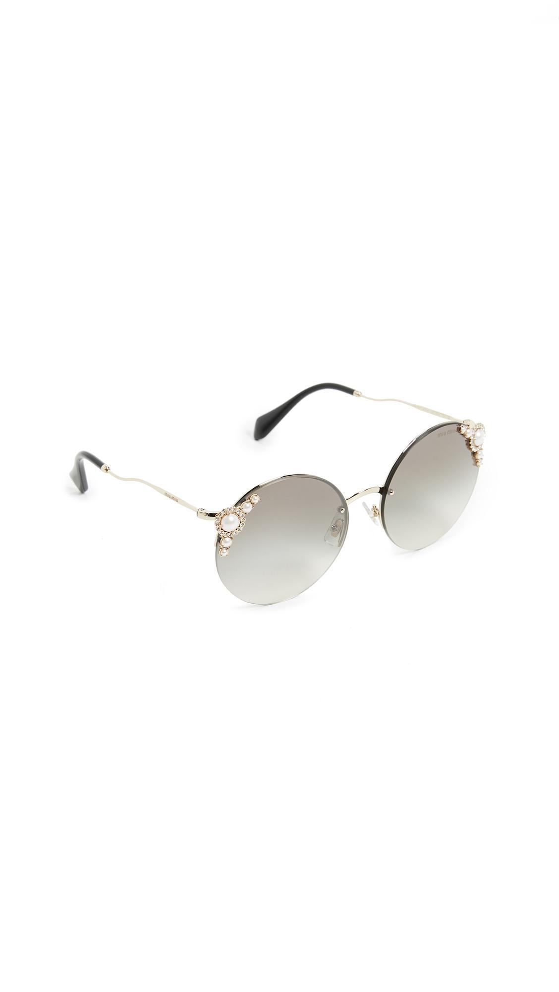 b06fabfb4b8 Miu Miu Round Imitation Pearl Sunglasses In Pale Gold Grey Silver ...