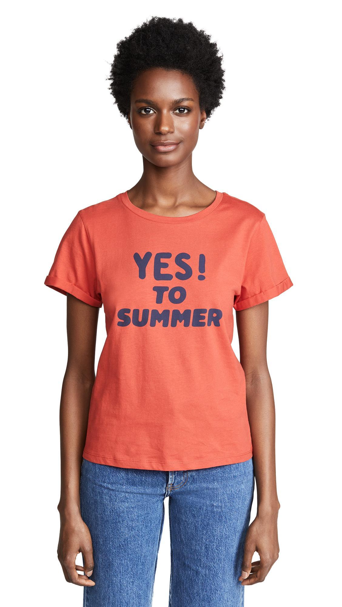 66ec1d9d998799 A.P.C. Yes To Summer T Shirt In Rouge   ModeSens