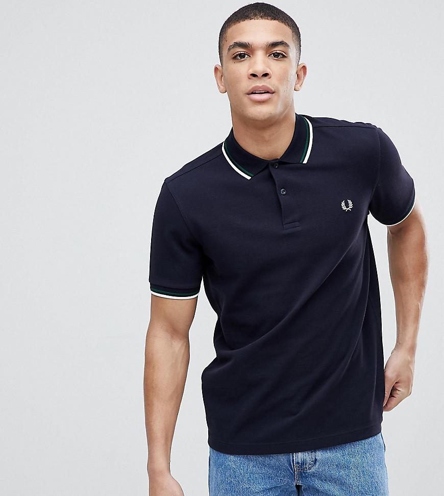 5288cf63 Fred Perry Twin Tipped Logo Polo Shirt In Navy Exclusive At Asos - Navy