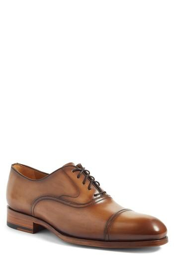 Magnanni Torres Cap Toe Oxford In Tobacco Leather