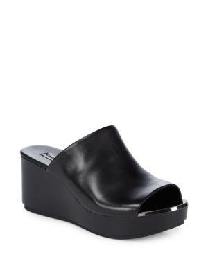 Karl Lagerfeld Leather Wedge Sandals In Black