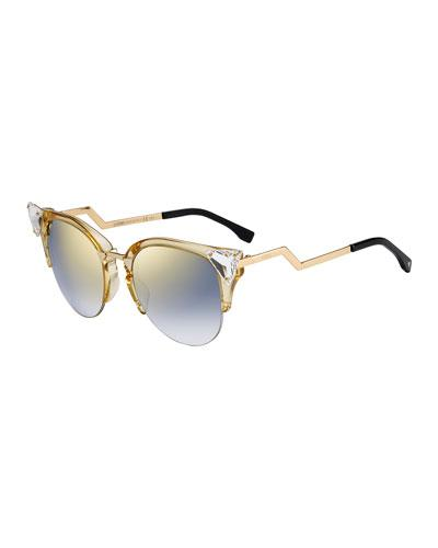 3556b929c621c Fendi Iridia Cat-Eye Crystal-Tip Sunglasses In Gold