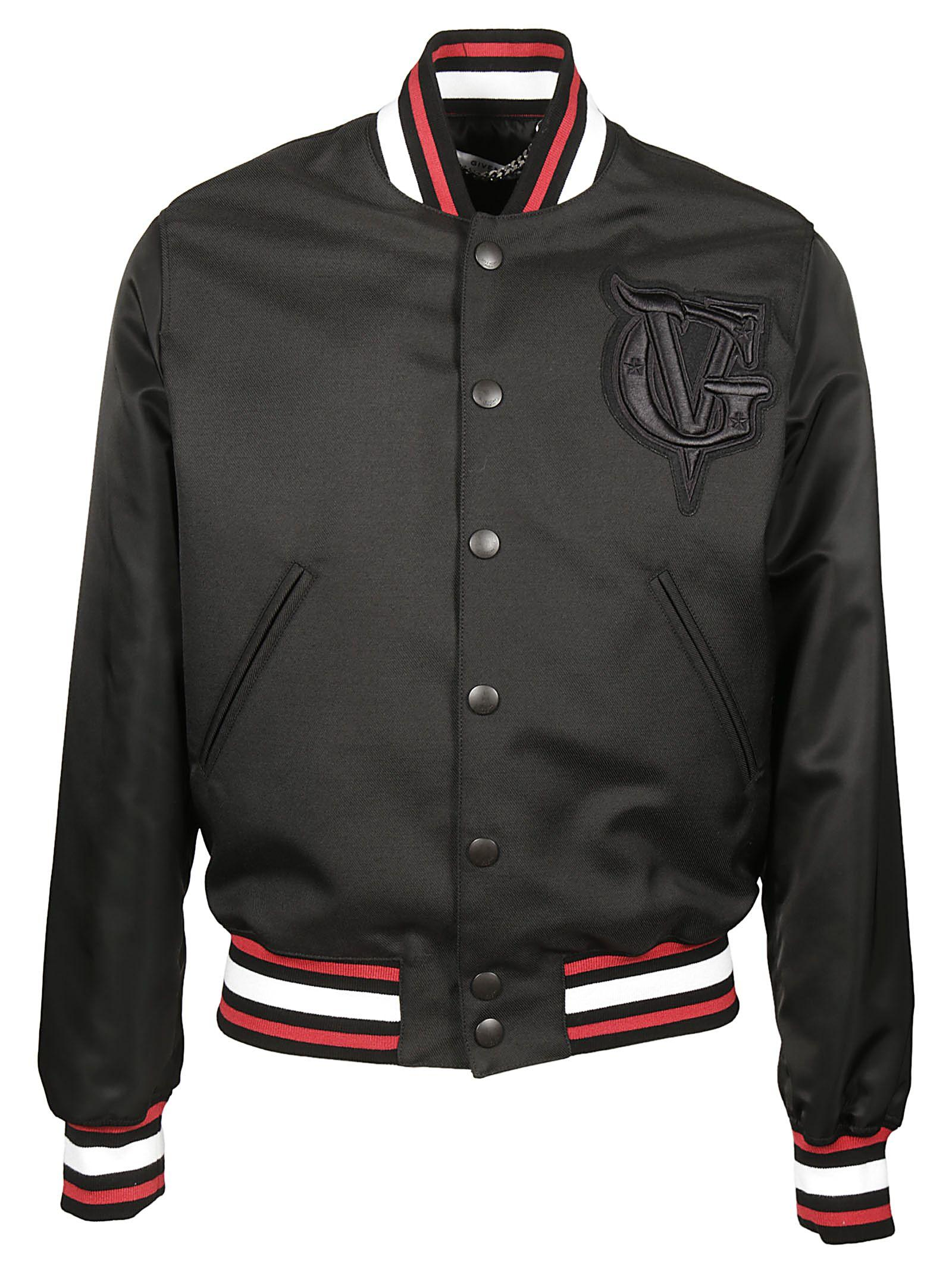 Givenchy Black Wool-Blend Bomber Jacket In Black And Red
