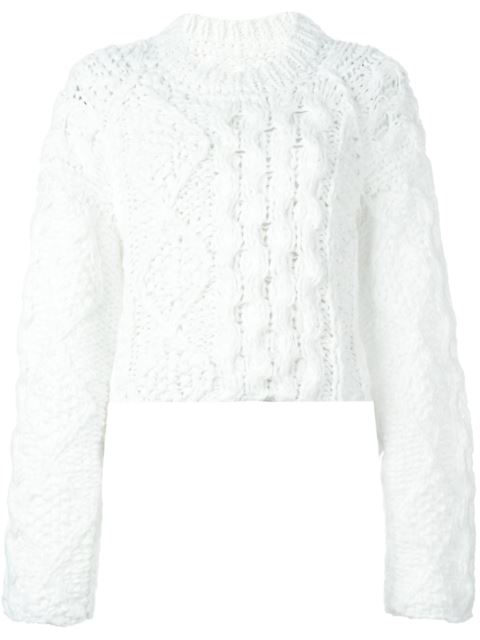Maison Margiela Cable Knit Sweater In White