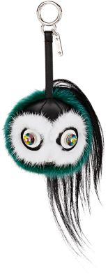 Fendi Monster Fur Keychain W/Beak, Orange Multi In Green