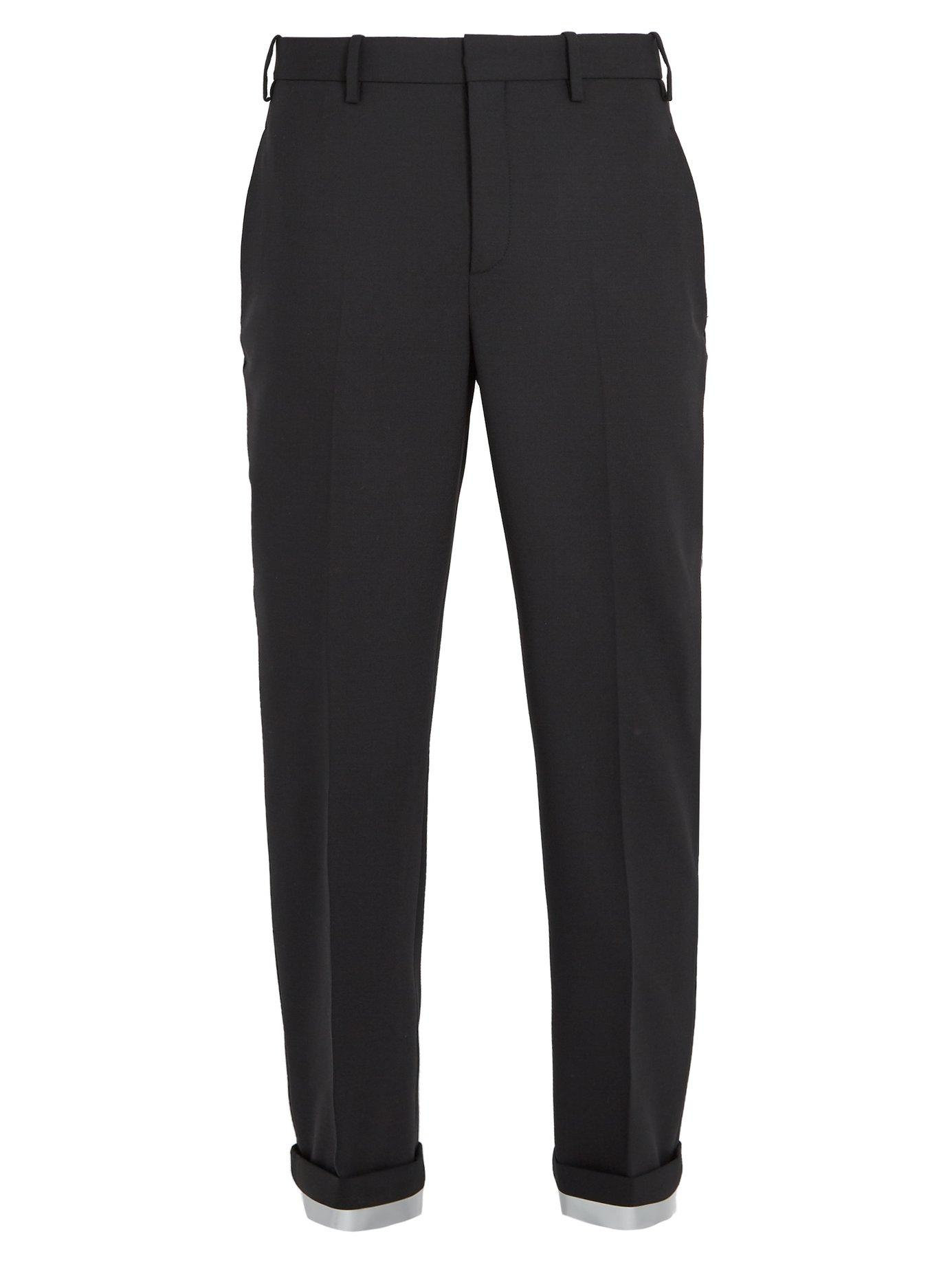 Neil Barrett Turn-Up Cuff Tapered-Leg Woven Trousers In Black