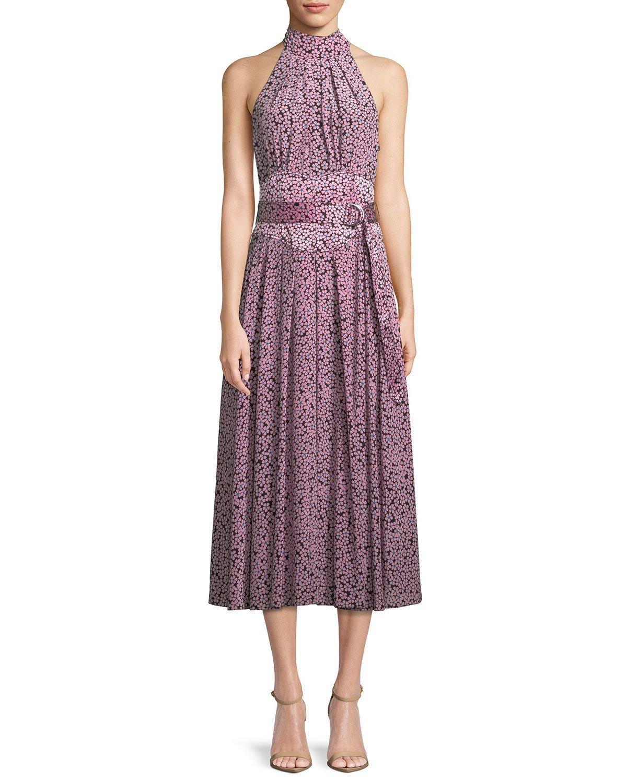 8aaf16a9f0541 Diane Von Furstenberg Halter-Neck Floral Belted Dress In Black ...
