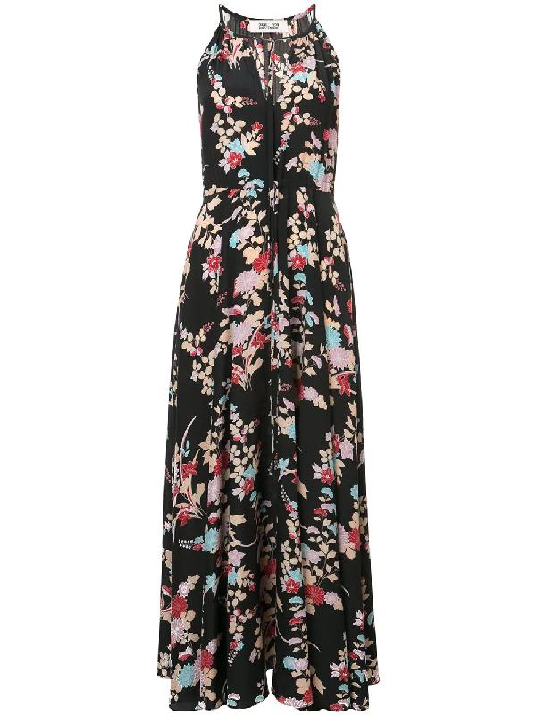 42d6470acaa Diane Von Furstenberg Keyhole Halter Tie-Waist Floral Maxi Dress In Black