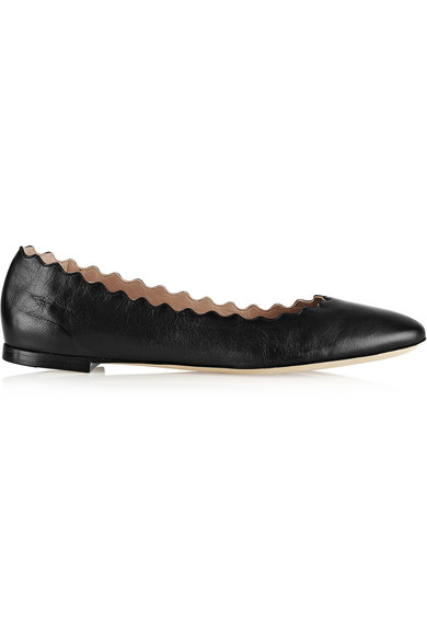 Chloé Lauren Leather Ballet Flats In Black