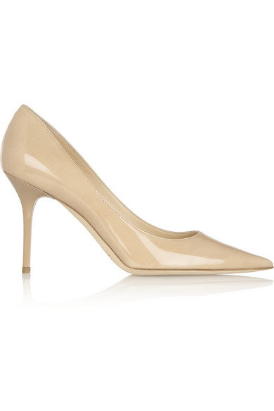 Jimmy Choo Agnes Patent-leather Pumps In Sand