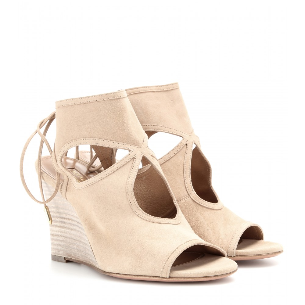 Aquazzura Sexy Thing Wedge Suede Sandals In Eude