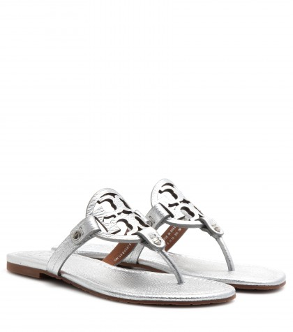 Tory Burch Miller Leather Sandals In Silver