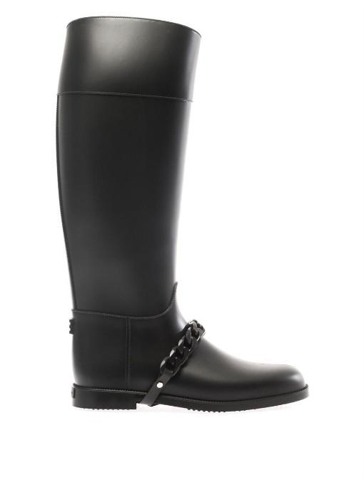 Givenchy Eva-chain Rubber Rain Boots In Black