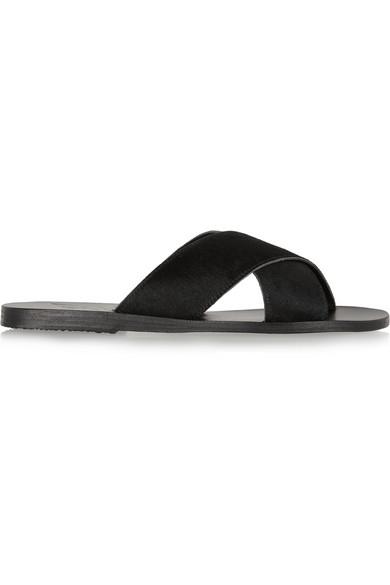 Ancient Greek Sandals Thais Calf Hair Slides In Black