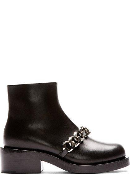Givenchy Black Leather Chain Accent Laura Ankle Boots