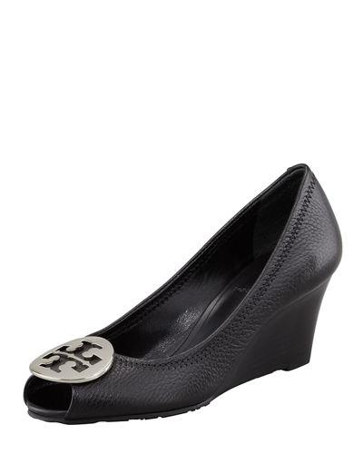 Tory Burch Sally 2 Leather Wedge Pump In Black/silver