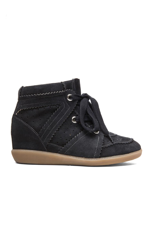 Isabel Marant Bobby Calfkin Velvet Leather Sneakers In Anthracite