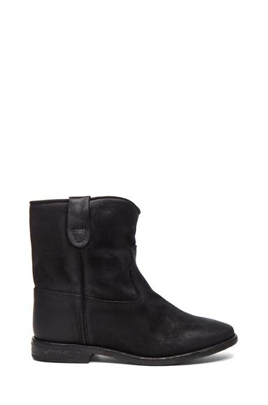 Isabel Marant Crisi Calfskin Velvet Boots In Black