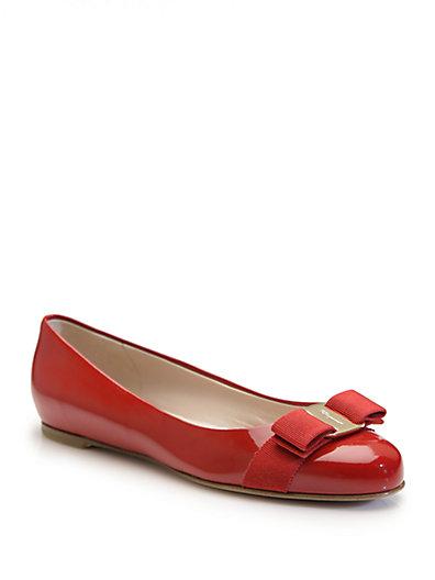 Salvatore Ferragamo Varina Patent Ballet Flats In Red