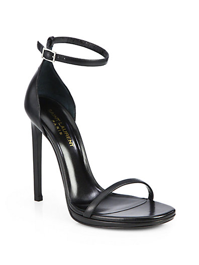 Saint Laurent Jane Leather Sandals In Nero-black