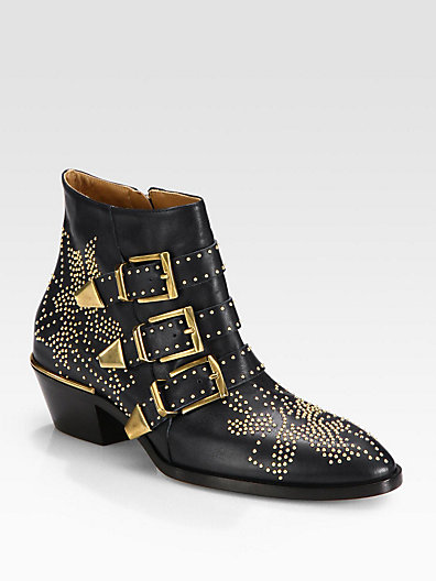 Chloé Suzanna Studded Leather Ankle Boots In Black