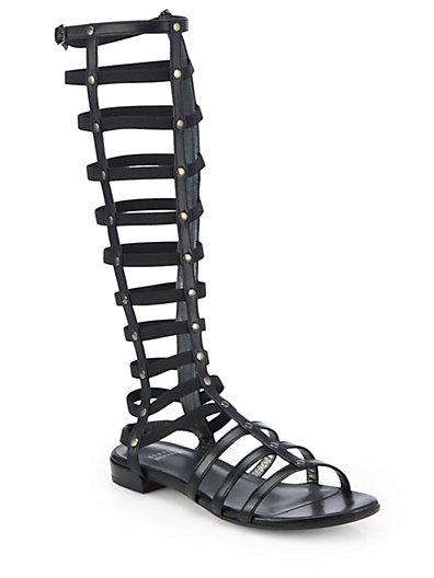 Stuart Weitzman Metallic Gladiator Sandals In Black