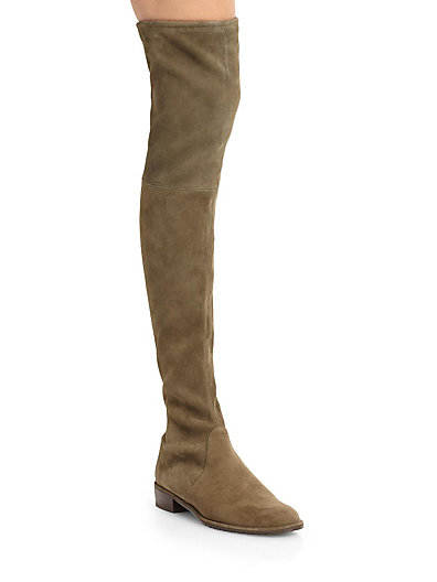 Stuart Weitzman Suede Lace-up Over-the-knee Boots In Loden