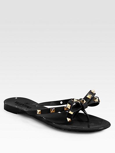 Valentino Garavani Rockstud Jelly Sandals In Black
