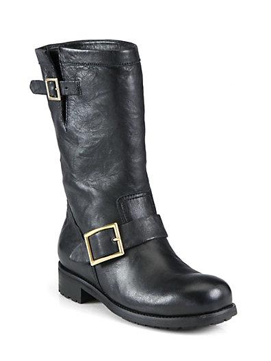 Jimmy Choo Leather Biker Boots In Black