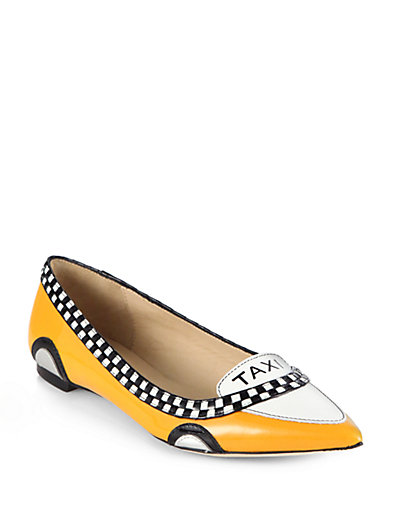 Kate Spade Go Taxi Leather Flats In Taxi Yello